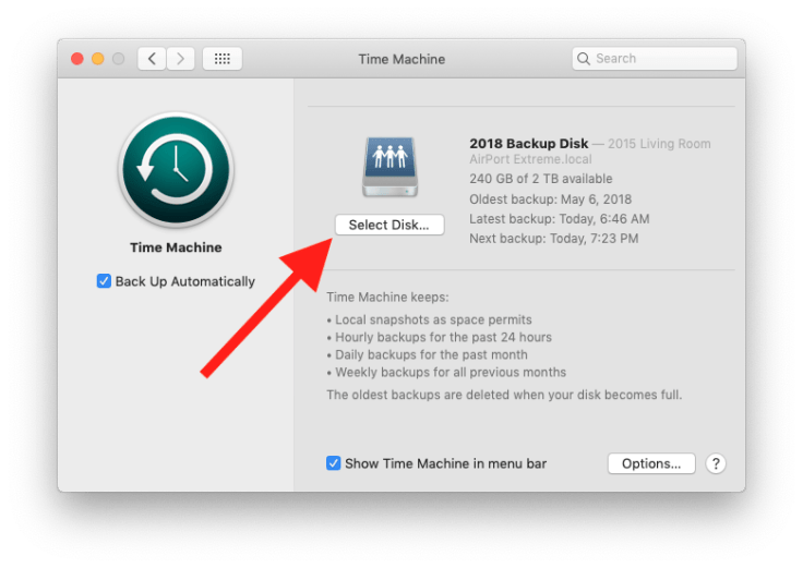 Select Disk... in Time Machine preferences