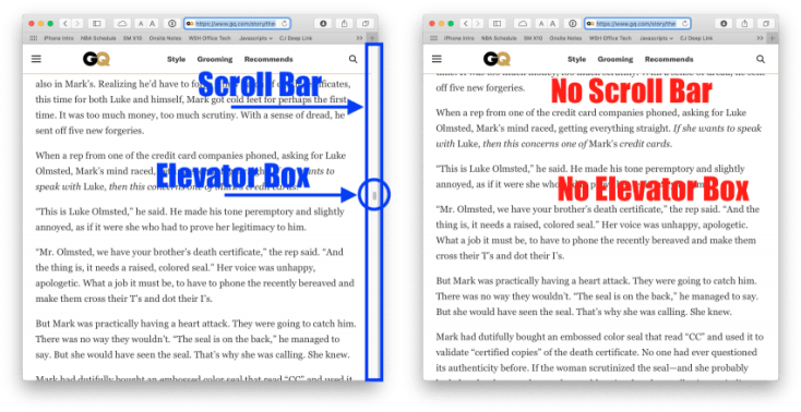 Safari document, with and without scroll bars.