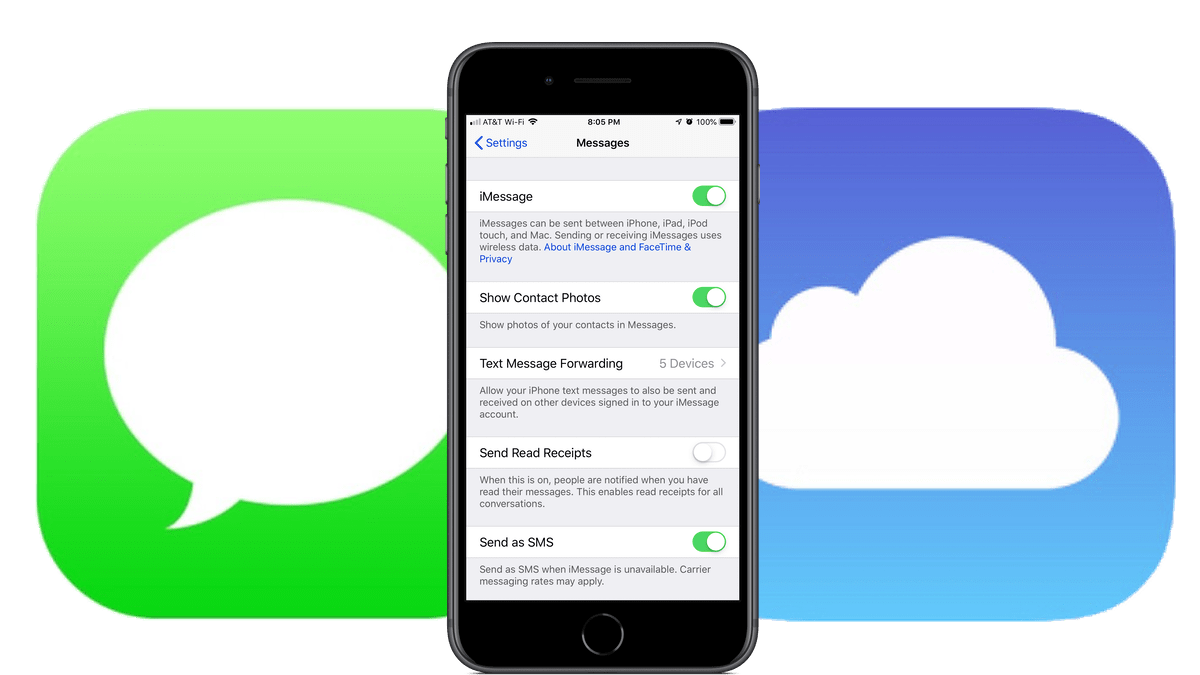 iMessage Activated with iCloud and Message icons