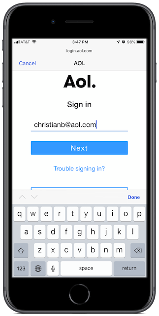 Enter your email address on this screen, then tap Next.