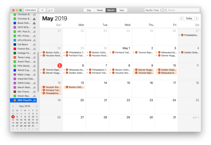 Mac screenshot showing NBA Playoffs calendar, month view
