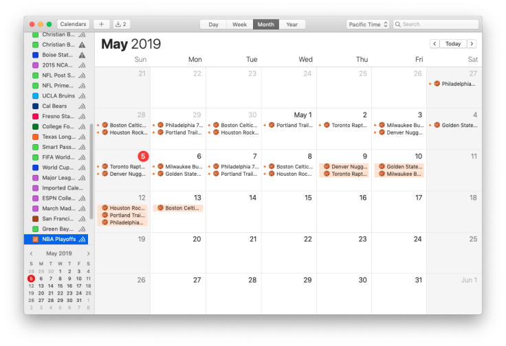 Mac screenshot showing NBA Playoffs calendar, month view