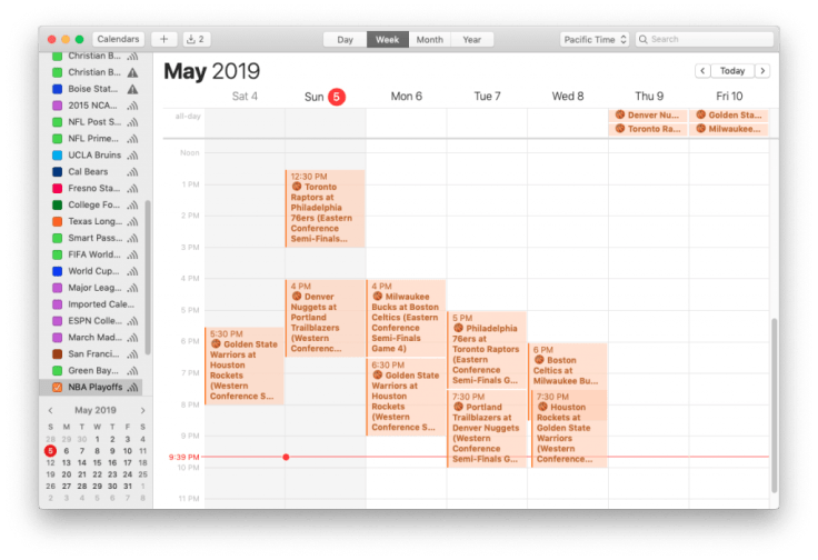 Mac screenshot showing NBA Playoffs calendar, week view