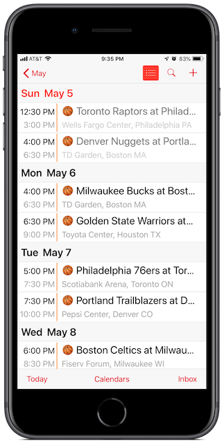 NBA Playoffs Calendar screenshot on an iPhone (List View)