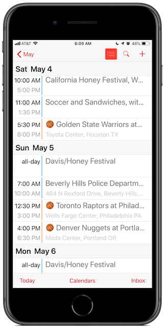 NBA Playoffs Calendar on an iPhone, showing leading basketball emojis for quick visual identification.