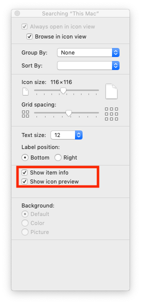 "View Options with ""Show item info"" and ""Show icon preview"" checked"