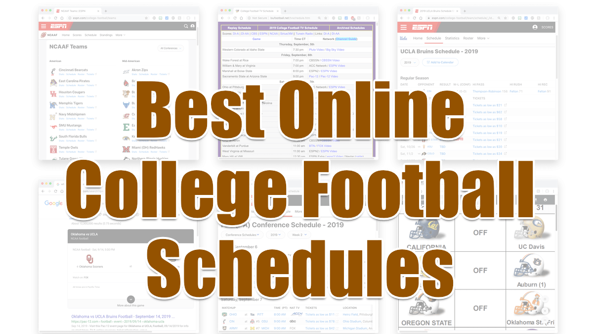 Best online college football schedules