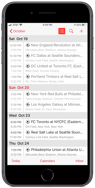 MLS Playoffs Calendar for iPhone ad Mac, on an iPhone