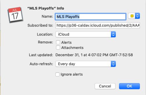 Adding MLS Playoffs calendar to Mac Calendar app.