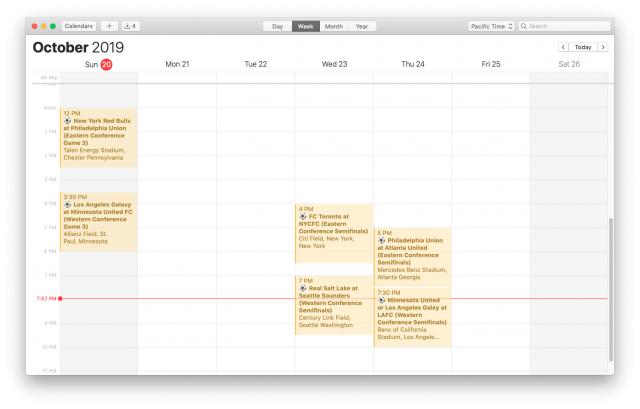 MLS Playoffs Calendar for iPhone and Mac (Week View)