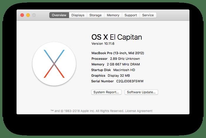 macOS 10.11.6 (El Capitan) About this Mac image.