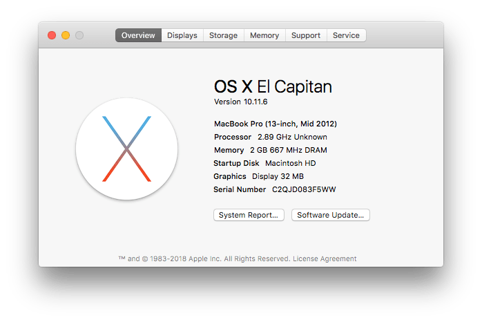 macOS 10.11.6 (El Capitan) About this Mac image.