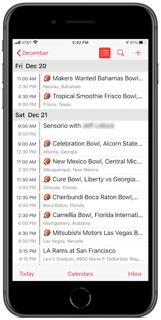 College Football Bowl Games calendar on iPhone 8 Plus