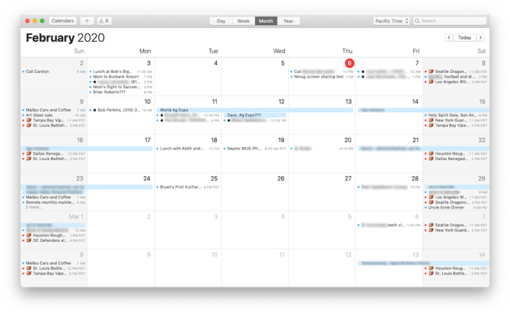 XFL Calendar on Mac Calendar app.