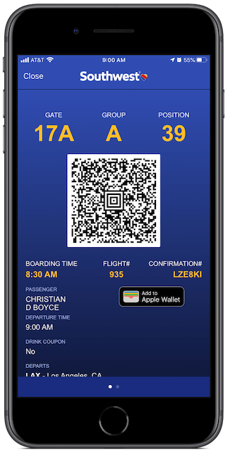 Southwest Airlines boarding pass.
