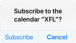 Step 1 of subscribing to the XFL calendar on iOS.