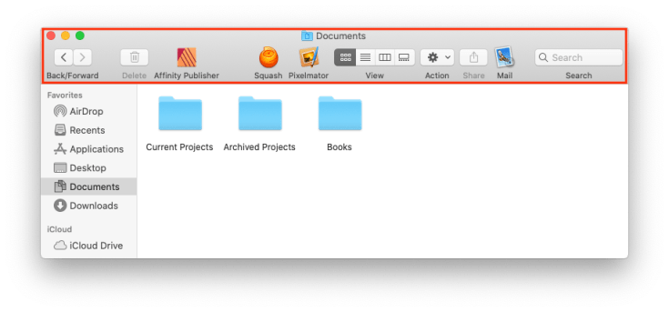My customized Finder toolbar