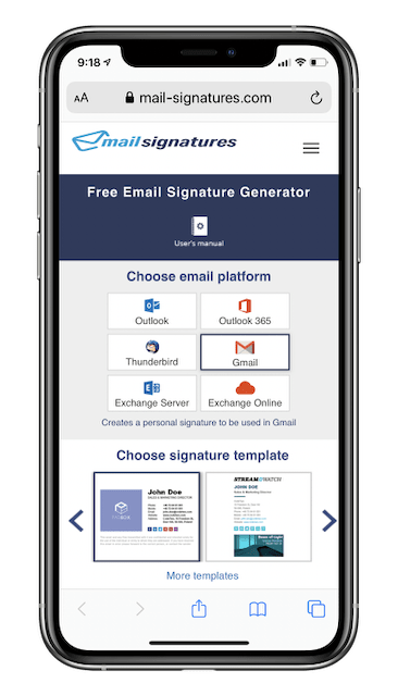 Mail Signatures website (on an iPhone XS)