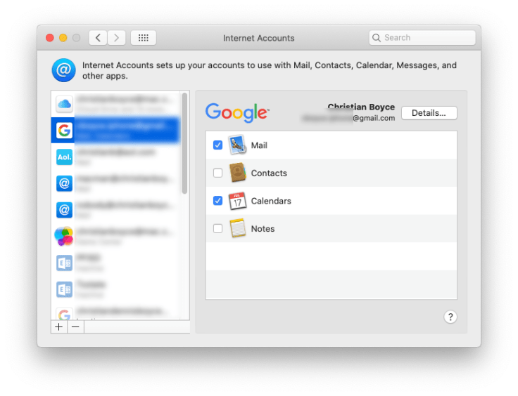 Mac showing Google account with Calendars turned on