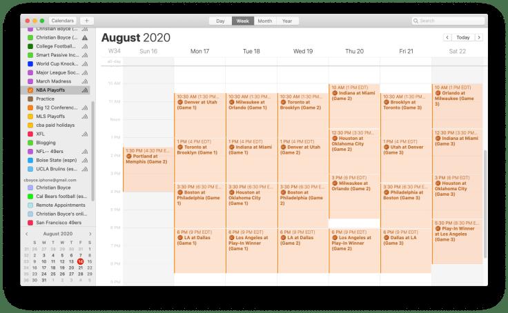 Mac screenshot showing NBA Playoffs calendar, week view