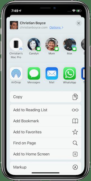 "Share sheet in Safari showing ""Add to Home Screen"" in iOS 14"