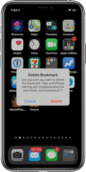 Confirming that we want to delete the Bookmark Shortcut in iOS 14