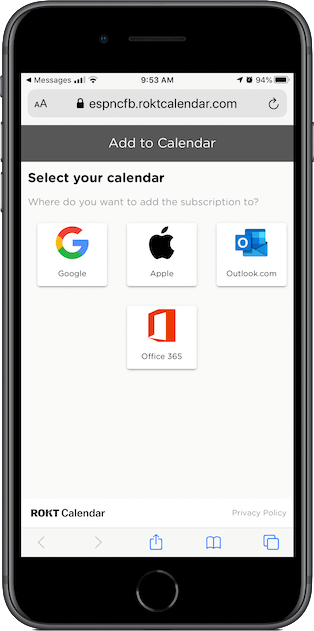 "Click ""Apple"" to have the calendar added to your iPhone's Calendar app"