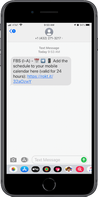 Text message with link to the calendar.