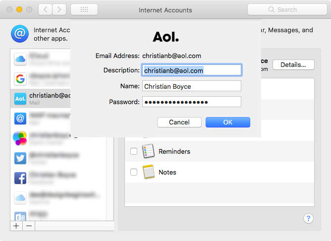 Entering the app-specific password after clicking the Details... button in Internet Accounts section of System Preferences
