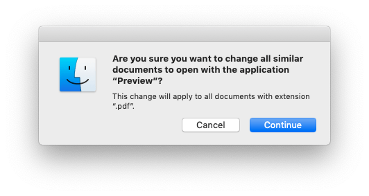 Dialog box asking whether you're sure you want to change the default app to Preview for PDFs.