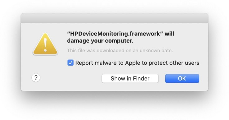 HPDeviceMonitoring.framework will damage your computer