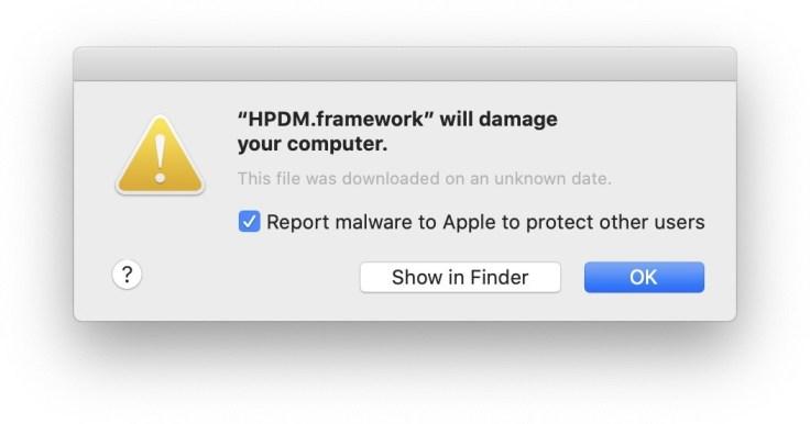 HPDM.framework will damage your computer