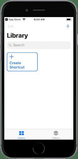 Create Shortcut screen