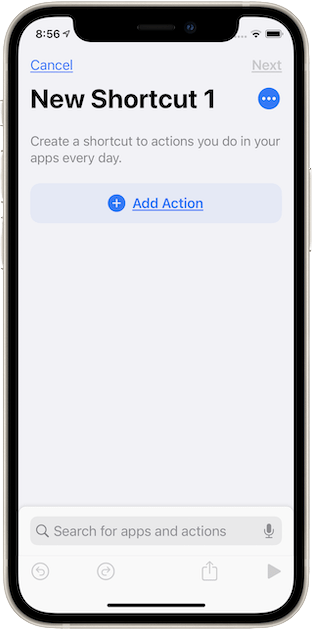 A new shortcut, waiting for some actions