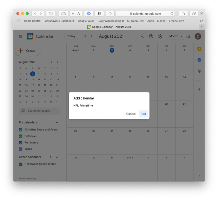 Adding the NFL Primetime calendar in Google Calendar