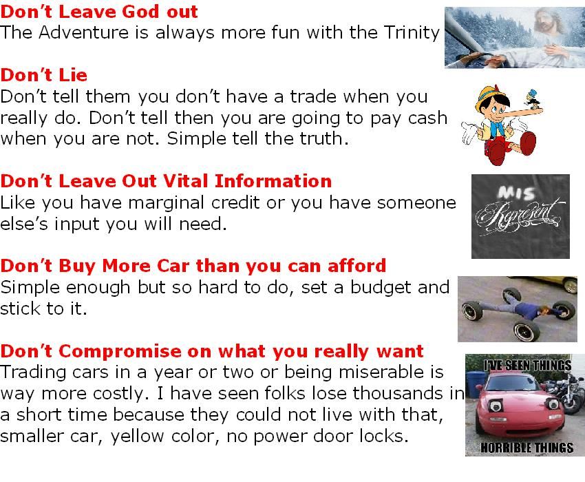 5 no nos of buying a car