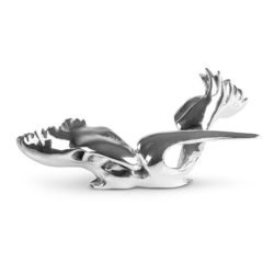Miniature titled Swamp Seraph is made of sterling silver and it shows a powerful bird seated with strong wings and a long beak.