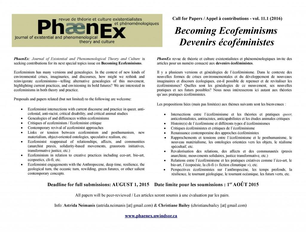 Call for papers Appel a contributions Phaenex Ecofeminism Vol 11 No 1 2016 -2