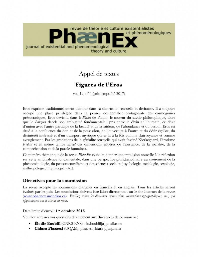 Phaenex - CFP - Special Topic EROS 2017 12-1 Francais