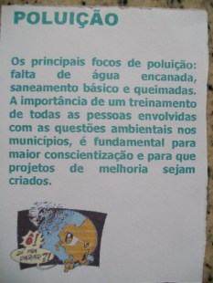 Panfleto sobre poluição 7ºF