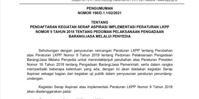pengumuman pendaftaran kegiatan serap aspirasi implementasi peraturan lkpp nomor 9 tahun 2018