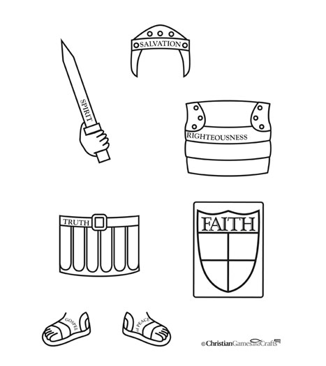 Armor of God Worksheet Bible Printable at Christian Games