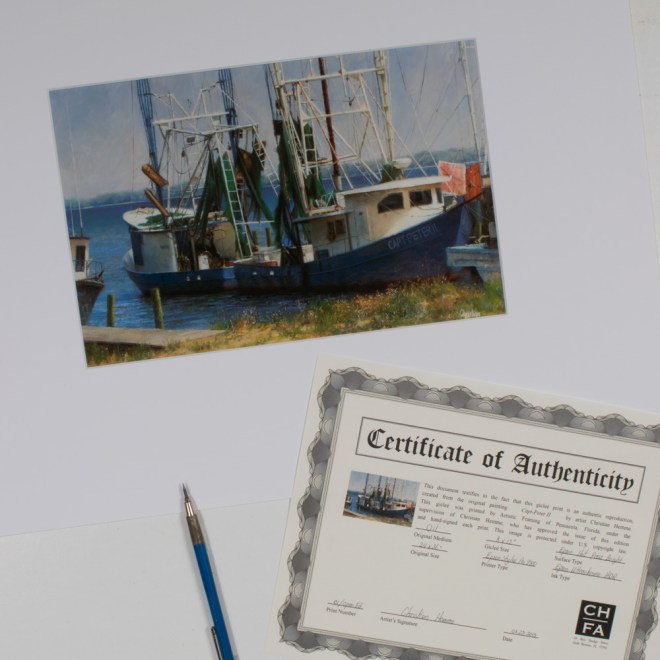 """Photo of """"Capt-Peter 2"""" signed giclée fine art reproduction, with certificate of authenticity."""