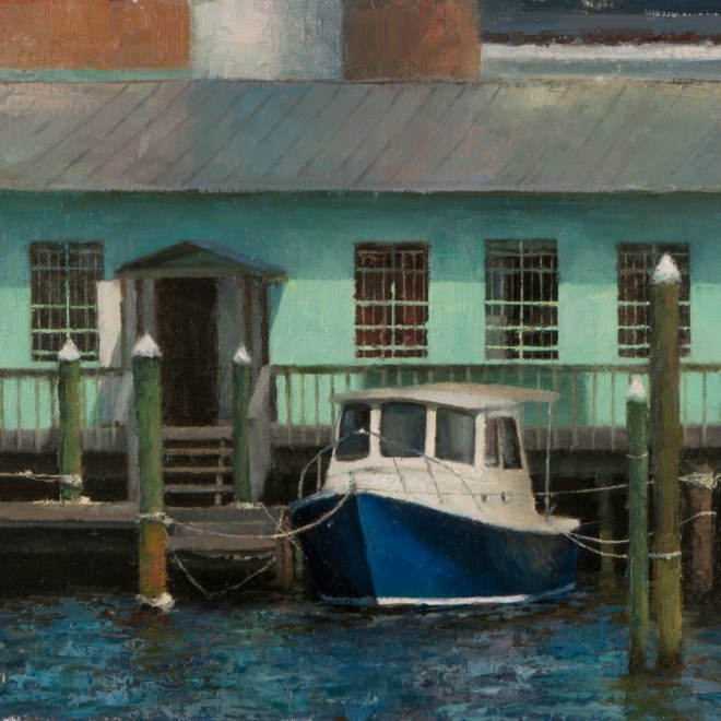 Oil painting entitled Little Blue Motorboat, by artist Christian Hemme.