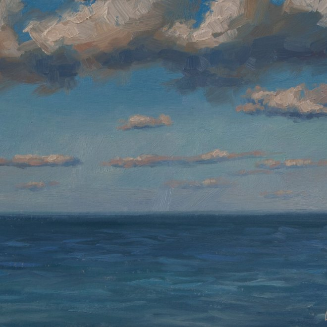 Oil painting entitled Clouds Over the Bay Plein Air, by artist Christian Hemme.