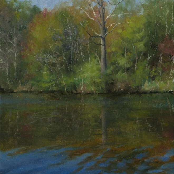 Oil painting entitled Azure Reflections Plein Air, by artist Christian Hemme.
