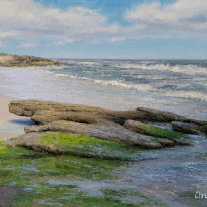 Oil painting entitled Coquina Shoreline, by artist Christian Hemme.