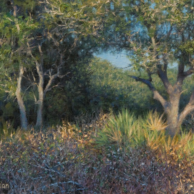 Oil painting entitled Late Afternoon Live Oaks, by artist Christian Hemme.