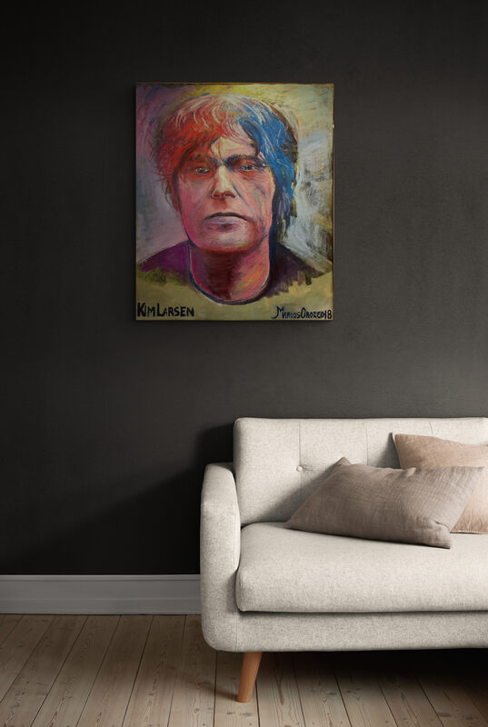 Oil painting, Kim larsen, Portrait, Marios Orozco