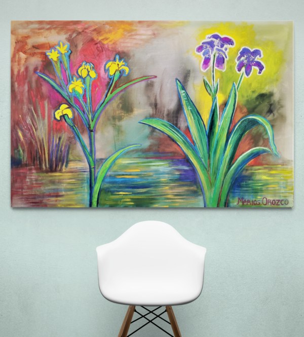 Yellow And Purple Irises 150X100 CM Oil on canvas By Marios Orozco
